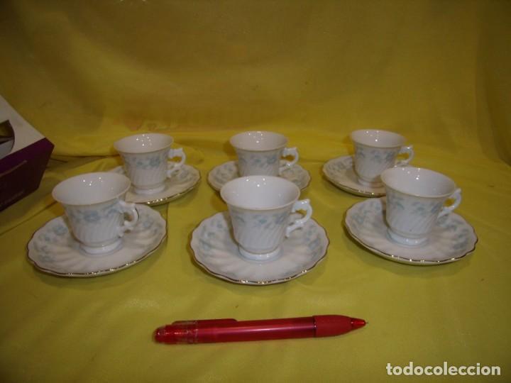 Antigüedades: Juego café porcelana China, filo de oro, 12 piezas, años 80, caja original, Nuevo sin usar. - Foto 2 - 184122152