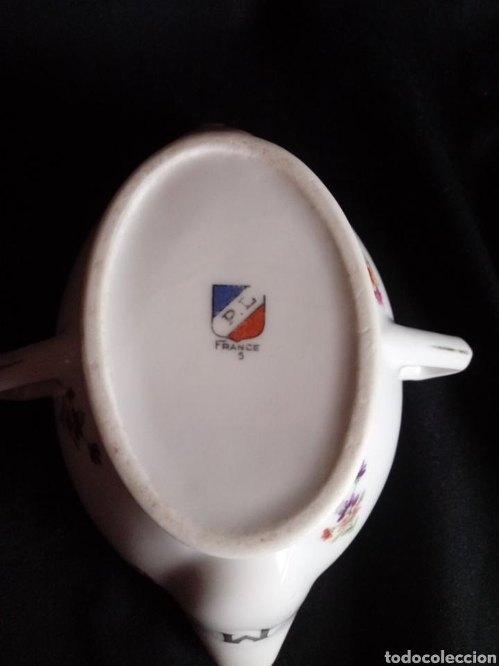 Antigüedades: Antigua salsera de porcelana francesa. Separa grasas maigre gras - Foto 7 - 184129312
