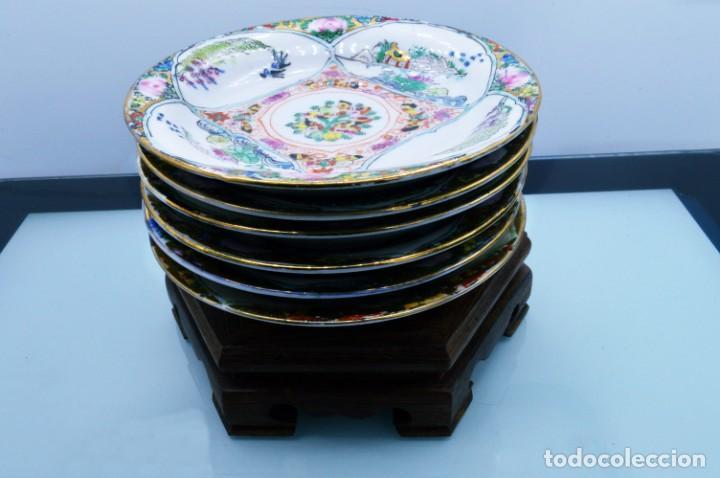 Antigüedades: ANTIGUOS PLATOS DE PORCELANA CHINA LOTUS BLOOMS BRAND CON FINA DECORACIÓN A MANO - SELLOS CHINOS - Foto 4 - 184141395