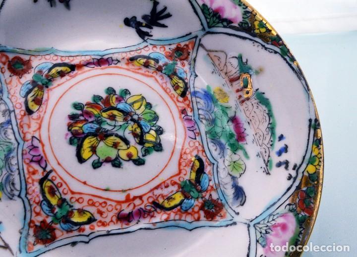 Antigüedades: ANTIGUOS PLATOS DE PORCELANA CHINA LOTUS BLOOMS BRAND CON FINA DECORACIÓN A MANO - SELLOS CHINOS - Foto 16 - 184141395