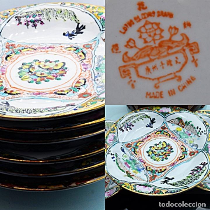 Antigüedades: ANTIGUOS PLATOS DE PORCELANA CHINA LOTUS BLOOMS BRAND CON FINA DECORACIÓN A MANO - SELLOS CHINOS - Foto 19 - 184141395