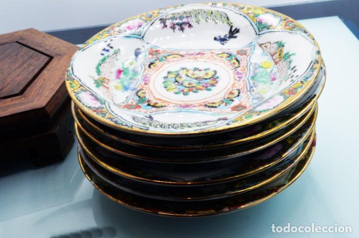 Antigüedades: ANTIGUOS PLATOS DE PORCELANA CHINA LOTUS BLOOMS BRAND CON FINA DECORACIÓN A MANO - SELLOS CHINOS - Foto 17 - 184141395