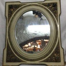 Antigüedades: BONITO ESPEJO DE LOS AÑOS 40 CON MOTIVOS FLORALES. Lote 184172212