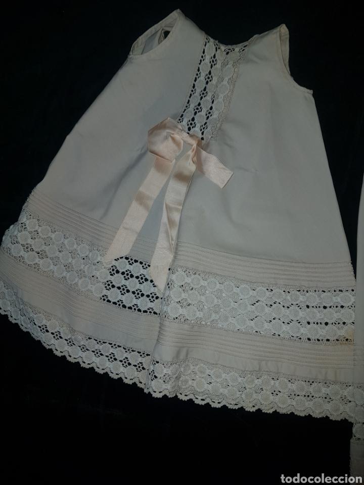 Antigüedades: Traje de bebe o traje de bautismo o acristianar color salmón - Foto 3 - 184183046