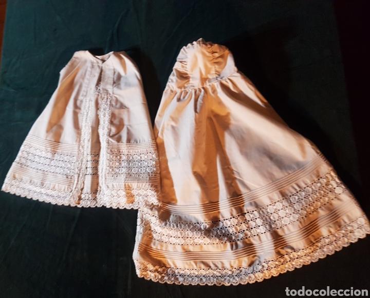 Antigüedades: Traje de bebe o traje de bautismo o acristianar color salmón - Foto 8 - 184183046