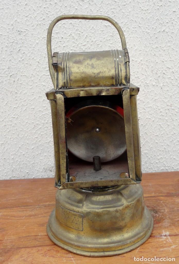 FAROL, LAMPARA DE CARBURO ANTIGUO, SXIX, BRONCE (Antigüedades - Iluminación - Faroles Antiguos)