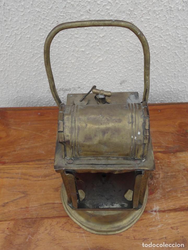 Antigüedades: Farol, lampara de carburo antiguo, SXIX, bronce - Foto 2 - 184188572