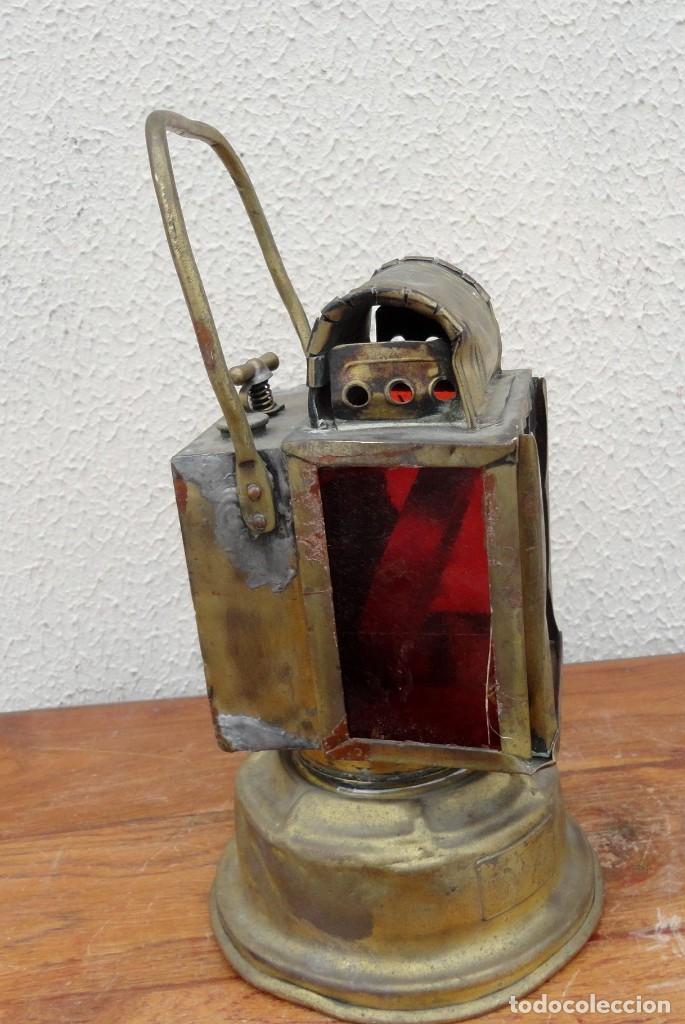 Antigüedades: Farol, lampara de carburo antiguo, SXIX, bronce - Foto 3 - 184188572