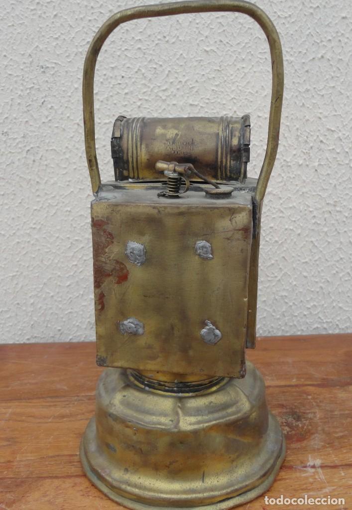 Antigüedades: Farol, lampara de carburo antiguo, SXIX, bronce - Foto 4 - 184188572