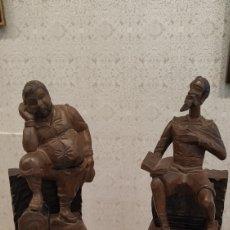 Antigüedades: QUIJOTE Y SANCHO PANZA TALLA DE MADERA. FIGURAS DE MADERA TALLADA. ARTESANÍA EN MADERA ANTIGUA.. Lote 184253061