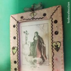 Antigüedades: ANTIGUO Y PRECIOSO ESCAPULARIO DE SANTA RITA, SGXIX ACRISTALADO. Lote 184255886