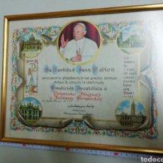 Antigüedades: BENDICIÓN APOSTÓLICA DE JUAN PABLO II 1983. Lote 184263033