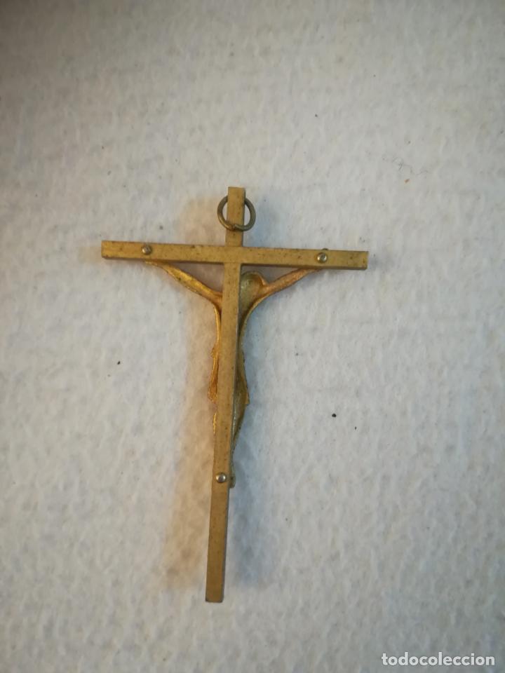 Antigüedades: ANTIGUA CRUZ. DORADA AL MERCURIO. CRISTO ESTILO BIZANTINO. COLGANTE. 5 X 7.5CM. VER - Foto 2 - 251624780