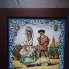Antigüedades: AZULEJO TRIANA CERÁMICA RAMOS REJANO PAREJA DE GITANOS FLAMENCOS SEVILLA. Lote 184295048