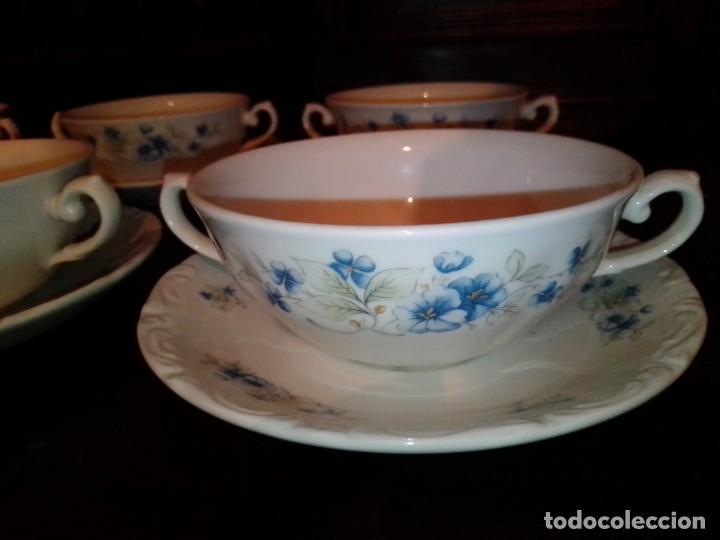 Antigüedades: Juego tazones y platos de porcelana Pontesa - Foto 4 - 184320477
