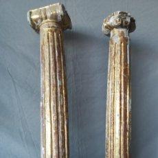 Antigüedades: PAREJA COLUMNAS DORADAS SIGLO XVIII. Lote 184357506
