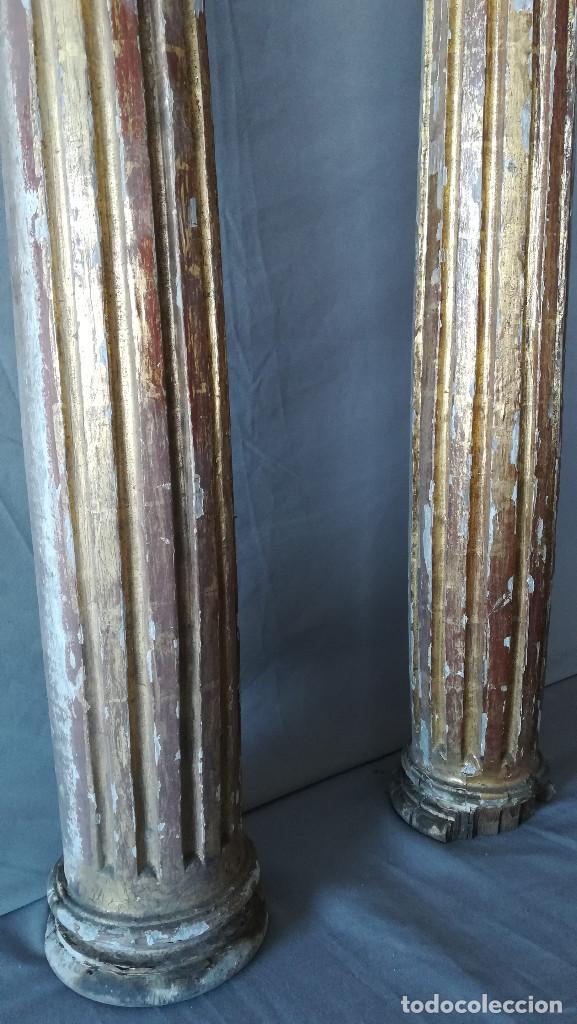 Antigüedades: PAREJA COLUMNAS DORADAS SIGLO XVIII - Foto 3 - 184357506