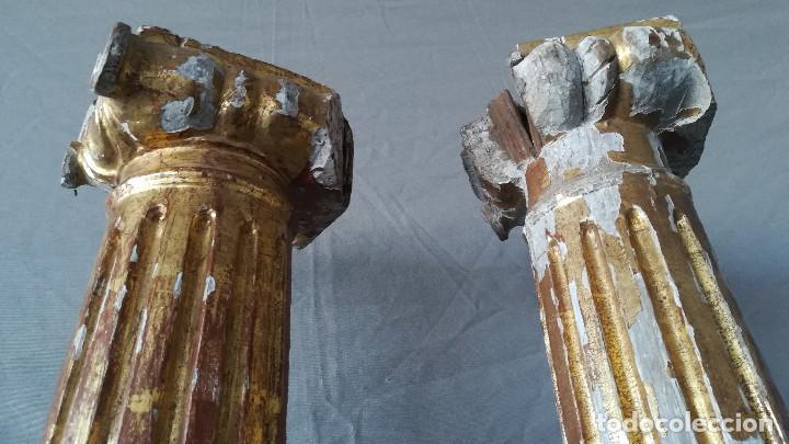 Antigüedades: PAREJA COLUMNAS DORADAS SIGLO XVIII - Foto 5 - 184357506