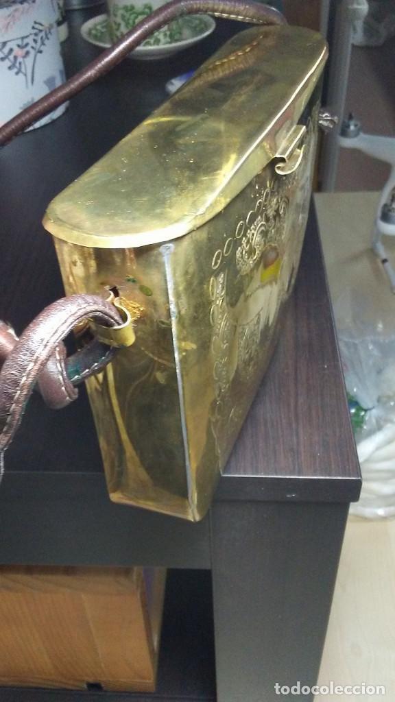 Antigüedades: ANTIGUO BOLSO DE BRONCE O LATÓN GRABADO - Foto 18 - 184370873