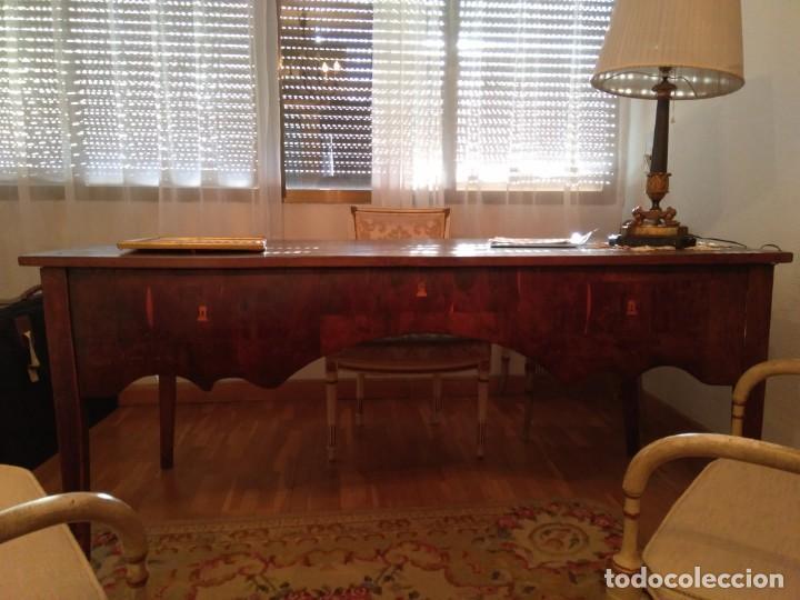 Antigüedades: Mesa de despacho de nogal. - Foto 2 - 184394703