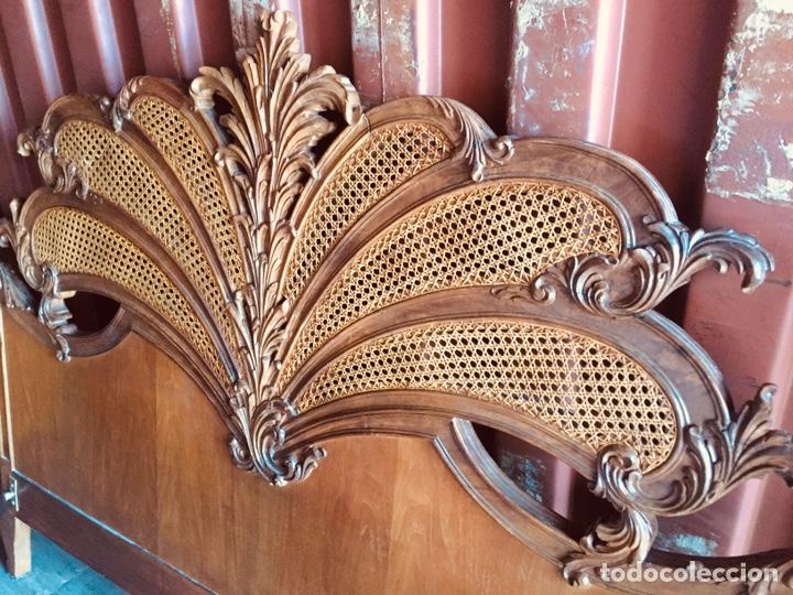Antigüedades: Cabecero de cama doble madera maciza tallada - Foto 6 - 168827660