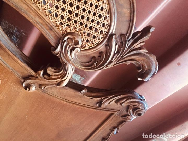 Antigüedades: Cabecero de cama doble madera maciza tallada - Foto 9 - 168827660