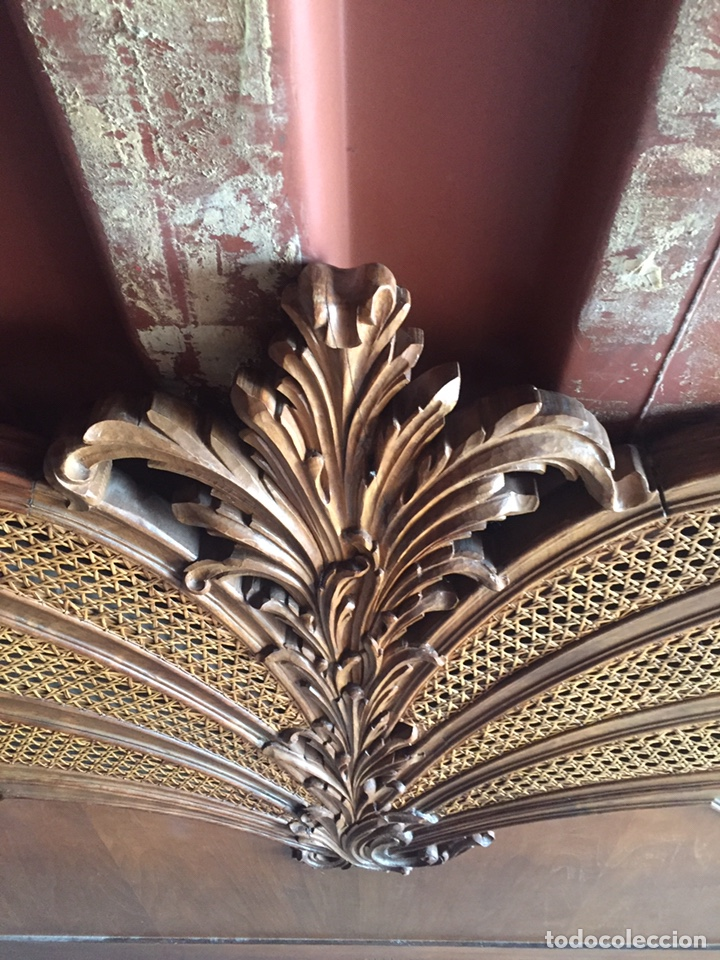 Antigüedades: Cabecero de cama doble madera maciza tallada - Foto 17 - 168827660
