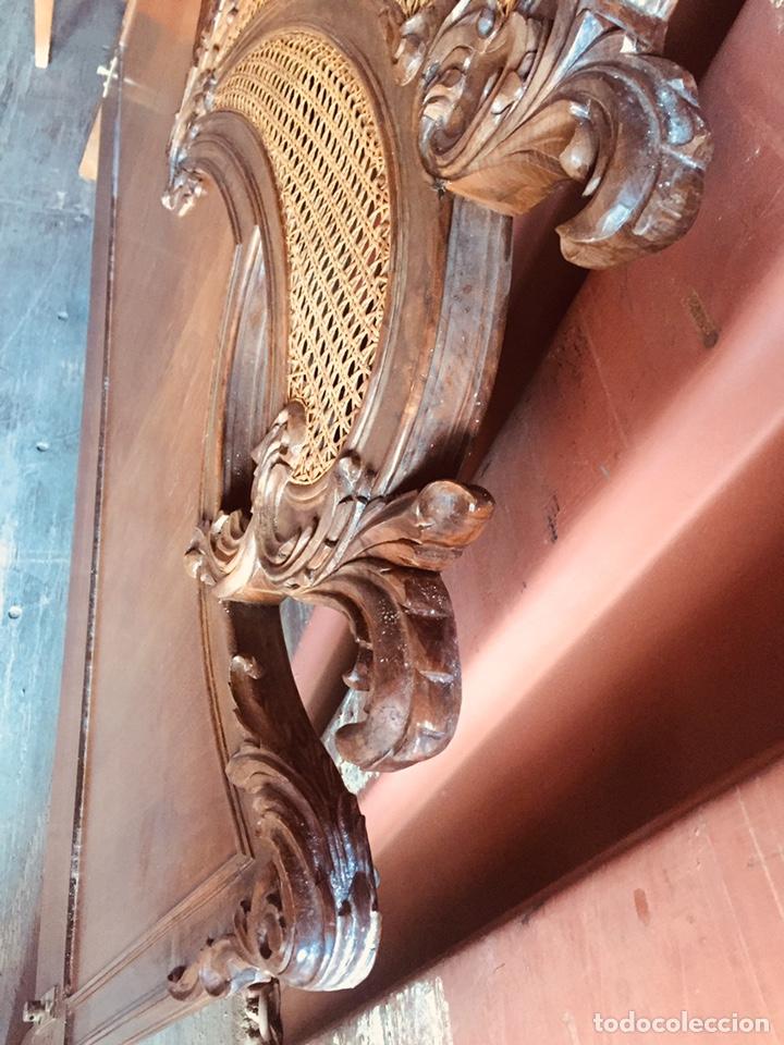 Antigüedades: Cabecero de cama doble madera maciza tallada - Foto 18 - 168827660