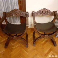 Antigüedades: PAREJA JAMUGAS, SILLONES MADERA Y CUERO. Lote 184441516