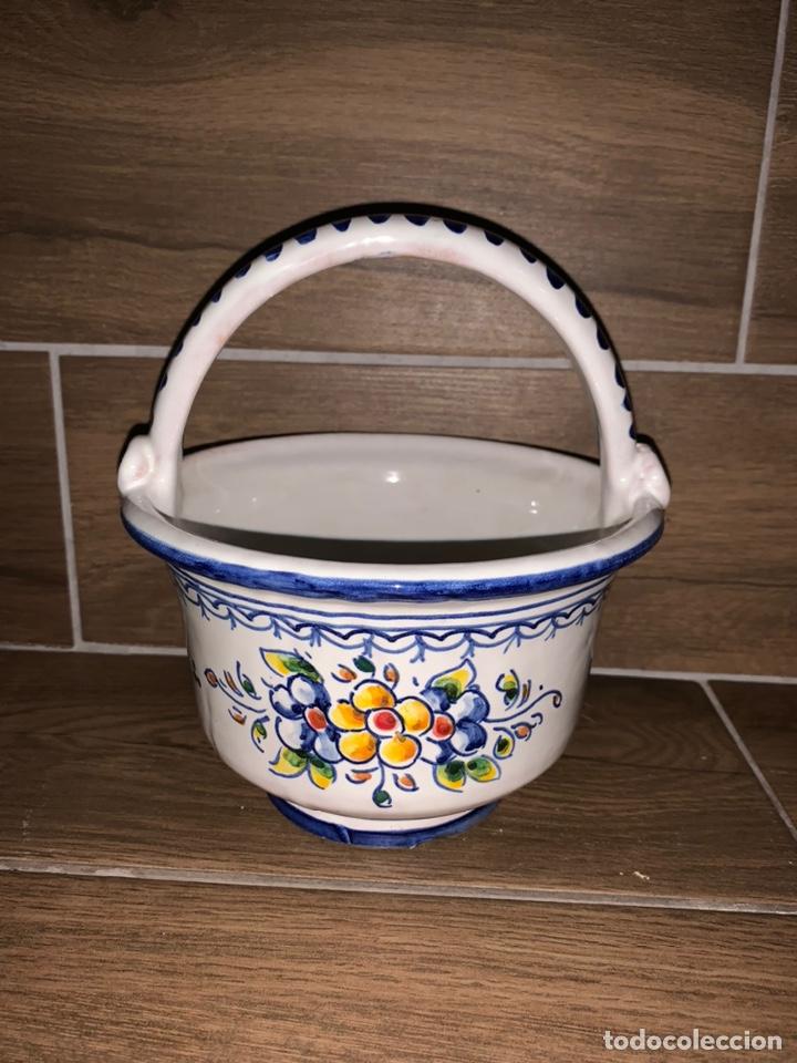 Antigüedades: Cestita frutero hecho y pintado a mano, Talavera - Foto 3 - 184447712