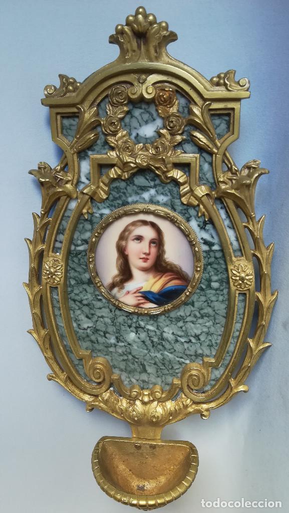 Antigüedades: BENDITERA DE BRONCE Y MARMOL, IMAGEN SOBRE ESMALTE - Foto 2 - 184453976