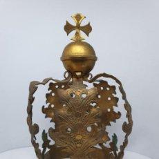 Antigüedades: PRECIOSA CORONA EN METAL DORADO PARA IMAGEN RELIGIOSA,S. XIX. Lote 184477217