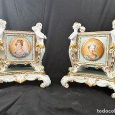 Antigüedades: PAREJA DE MACETEROS EN PORCELANA CON SELLO GERMANI. Lote 184509092
