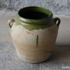 Antigüedades: ORZA DE BARRO DE DOS ASAS - TINAJA - CÁNTARO - ESMALTE VERDE. Lote 184509226