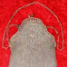 Antigüedades: BOLSO DE DAMA EN MALLA DE PLATA. ESTILO ISABELINO. ESPAÑA. SIGLO XIX. Lote 184544866