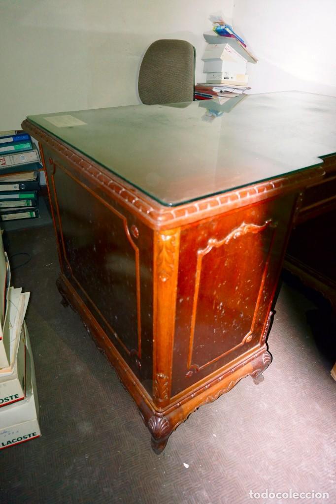 Antigüedades: mesa despacho antigua vintage madera escritorio oficina trabajo - Foto 3 - 184548851