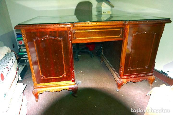 Antigüedades: mesa despacho antigua vintage madera escritorio oficina trabajo - Foto 4 - 184548851