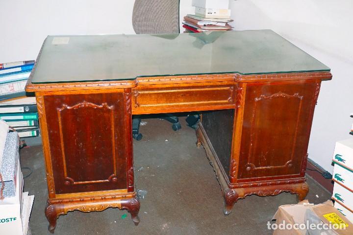 Antigüedades: mesa despacho antigua vintage madera escritorio oficina trabajo - Foto 5 - 184548851