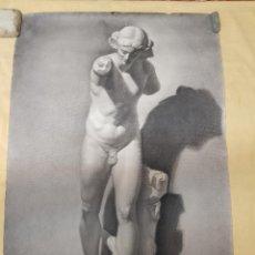 Antigüedades: DIBUJO ESCULTURA CLÁSICA. 1906. PINTADO AL CARBONCILLO. FIRMADO. GRAN TAMAÑO. Lote 184554256