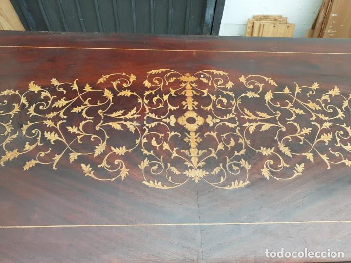 Antigüedades: consola de caoba y pino con toque marqueteria - Foto 3 - 184558600