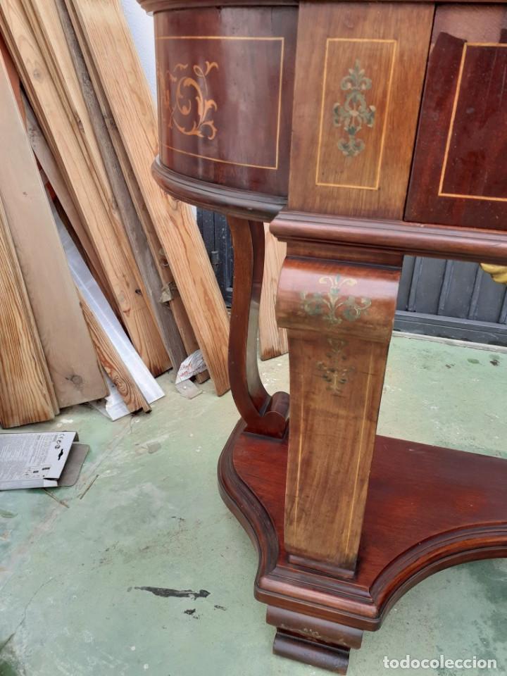 Antigüedades: consola de caoba y pino con toque marqueteria - Foto 6 - 184558600