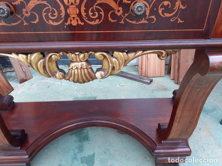 Antigüedades: consola de caoba y pino con toque marqueteria - Foto 7 - 184558600