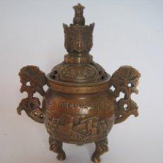 Antigüedades: ANTIGUO INCENSARIO, QUEMADOR DE INCIENSO DE BRONCE, BUDA, BUDDHA, SELLO. Lote 184559512