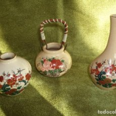 Antigüedades: ANTIGUOS JARRONES PORCELANA Y ORO , JARRON. PORCELANA SATSUMA JAPON .AÑOS 50 COLECCION. 3 PIEZAS. Lote 184601871