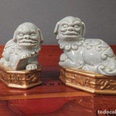 Antigüedades: ALGORA - PAREJA DE PERROS LEONES GUARDIANES O PERROS FOO CHINOS. Lote 184602850