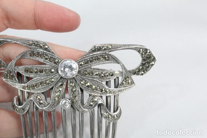 Antigüedades: Preciosa peineta de plata de Ley, marcasitas y cristal de roca - Foto 3 - 184606447