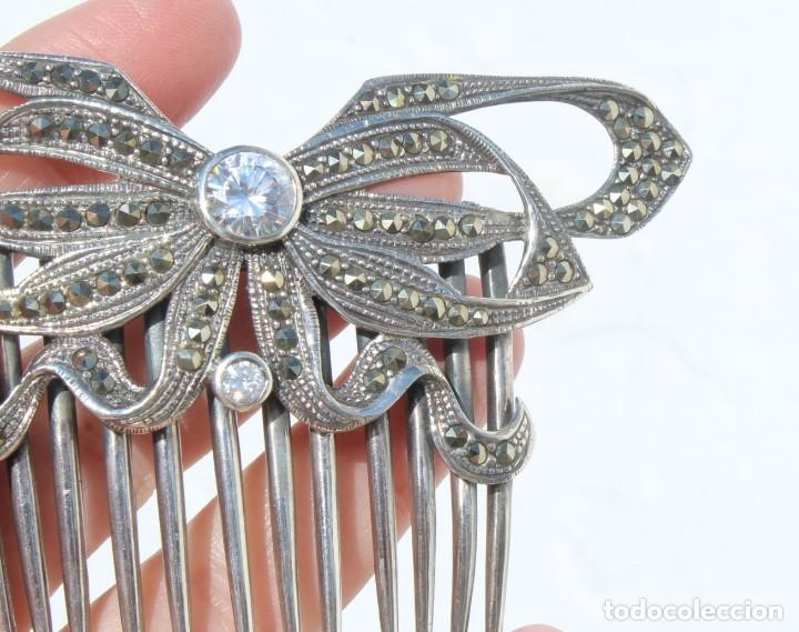 Antigüedades: Preciosa peineta de plata de Ley, marcasitas y cristal de roca - Foto 5 - 184606447