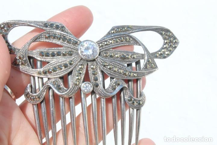 Antigüedades: Preciosa peineta de plata de Ley, marcasitas y cristal de roca - Foto 6 - 184606447
