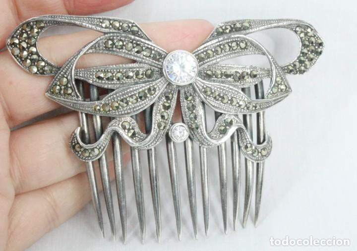 Antigüedades: Preciosa peineta de plata de Ley, marcasitas y cristal de roca - Foto 7 - 184606447