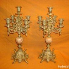 Antigüedades: CANDELABROS DE BRONCE Y MARMOL.(PAREJA). Lote 184611053